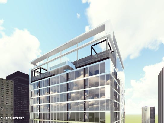 A proposed 26-story apartment tower in downtown Des