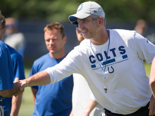 Frank Reich, head coach, during organized team activities