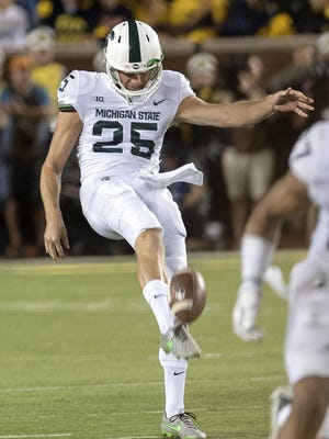 MSU punter Jake Hartbarger punted eight times for an average of 46.8 yards on Saturday against the Hoosiers.