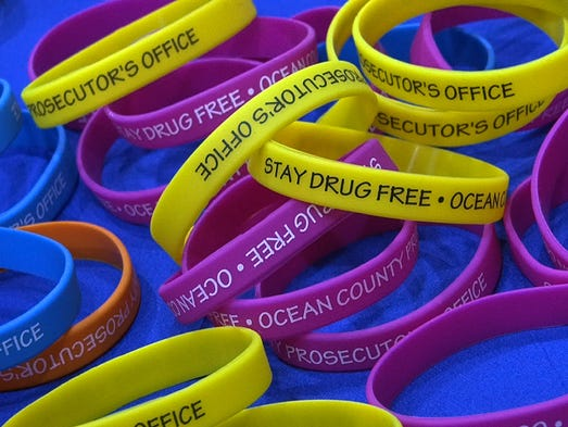 Wristbands distributed by the Ocean County Prosecutors office during the forum held in Toms River, NJ, Tuesday night, May 27, 2014.    TOMS RIVER, NJ   DRUGFORUM0527L  ASB 0528 HEROIN FORUM  WITH VIDEO  STAFF PHOTO BY THOMAS P. COSTELLO / ASBURY PARK PRESS