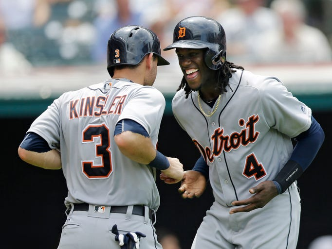 Detroit Tigers' Cameron Maybin (4) and Ian Kinsler