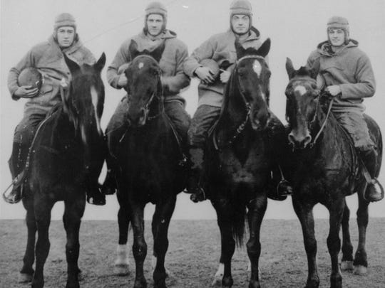 The Four Horsemen of Notre Dame on horseback. Left to right: Don Miller, Elmer Layden, Jim Crowley, and Harry Stuhldreher.
