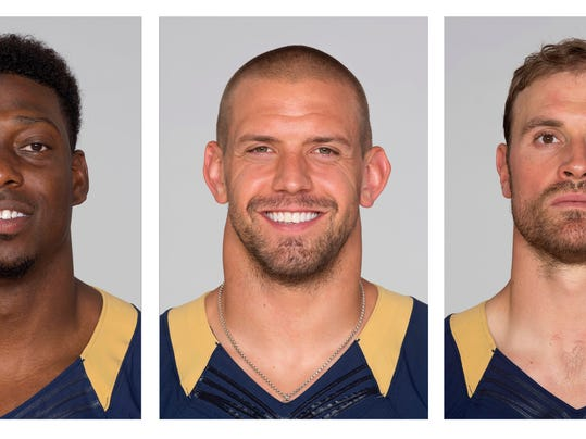 File - From left are 2015 file photos showing Jared Cook, James Laurinaitis and Chris Long. The Los Angeles Rams released veterans James Laurinaitis and Chris Long, and also cut tight end Jared Cook on Friday, Feb. 19, 2017. (AP Photo/File)