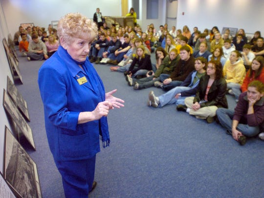 Eva Kor, a Holocaust survivor, talks to about 250 students from the Shakamak school district at the CANDLES Holocaust Museum in 2005 in Terre Haute.
