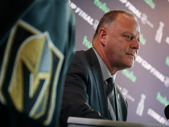 Gerard Gallant listens during a news conference for the Stanley Cup finals Sunday in Las Vegas.