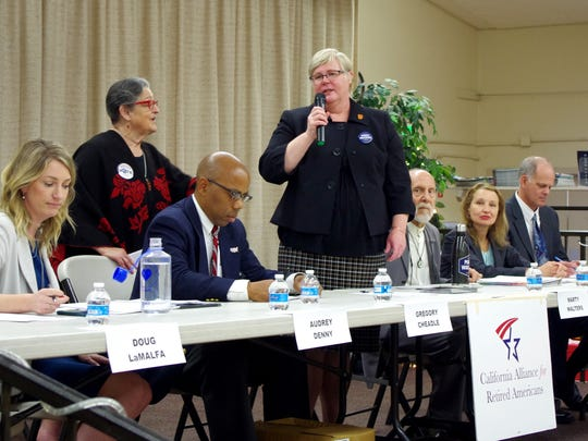 Democrat Marty Walters speaks at a previous Redding candidates forum for California's 1st congressional district, currently occupied by Republican Doug LaMalfa.