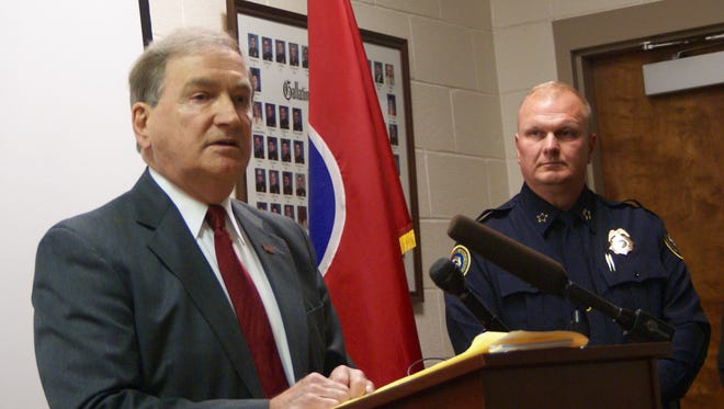 Sumner County District Attorney Ray Whitley speaks during a news conference regarding a fatal officer-involved shooting in Gallatin on April 6.