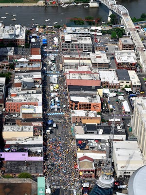 The crowds flock to downtown Nashville for a busy night on the town with CMA Fest, Luke Bryan and Montgomery Gentry playing at Tootsie's before game 6 of the Stanley Cup Finals. Sunday June 11, 2017, in Nashville, TN