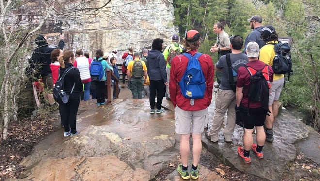 Hikers participate in the 2017 spring hike at Fall Creek Falls.