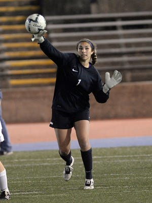 Madeline Talbot throws the ball out from the goal.