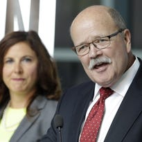 Democratic Indiana gubernatorial candidate John Gregg announces that Indianapolis state Rep. Christina Hale, left, will be his running mate during a news conference, Wednesday, May 25, 2016, in Indianapolis. (AP Photo/Darron Cummings)