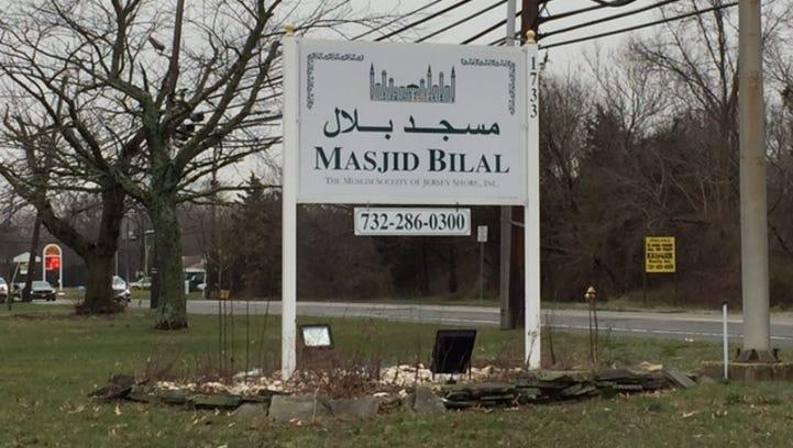 Sign outside Masjid Bilal, the Toms River Islamic community