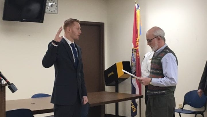New MPD officer sworn in Friday just returned from a deployment with 179th