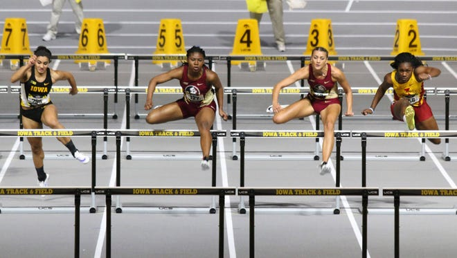 Peta-Gay Williams and Nicole Setterington finished first and second, respectively, in the 60 meter hurdle