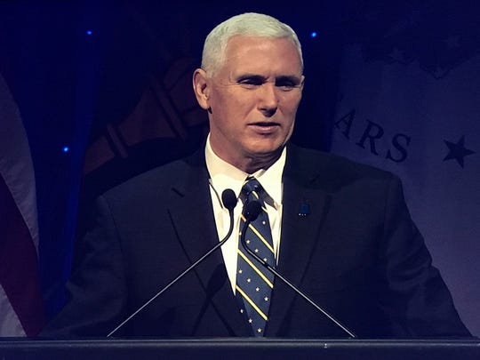 """Vice President-elect Gov. Mike Pence addresses the audience during """"Ignite The Future,"""" a celebration held at Indiana Farmers Coliseum in honor of the Indiana Bicentennial."""