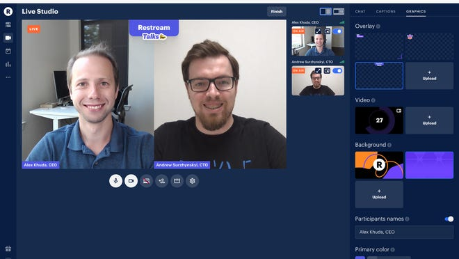 Alex Khuda and Andrew Surzynskyi co-founded Austin-based Restream, which makes multiplatform live streaming technology. The company has raised $50 million and is launching a new broadcast production service.