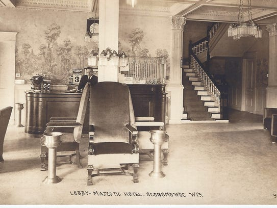 The lobby of The Majestic Hotel in Oconomowoc.