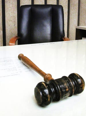 A gavel of a Marion County Criminal Court Judge is shown at the judge's bench at the City-County Building in Indianapolis.