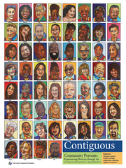 A poster of York artist Ophelia Chambliss' 'Contiguous' portrait project is available for purchase for $20 by emailing her at opheliachambliss@comcast.net. They are also available for purchase at Gusa by Victoria and will soon be available at i-ron-ic and other locations.