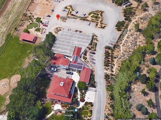 A current aerial view of the Caughlin Ranch House facing south from Mayberry Street.