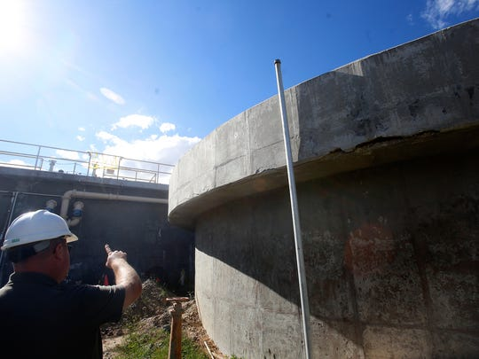 City of Bloomfield Water Reclamation Facility Operations Foreman Dave Sonnenberg talks about repairs needed on the wastewater treatment plant's settling tanks on Sept. 12.