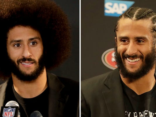 """FILE - At left, in a Dec. 24, 2016, file photo, San Francisco 49ers quarterback Colin Kaepernick talks during a news conference after an NFL football game against the Los Angeles Rams, in Los Angeles. At right, in a Jan. 1, 2017, file photo, 49ers quarterback Colin Kaepernick speaks at a news conference after an NFL football game against the Seattle Seahawks, in Santa Clara, Calif. Michael Vick has some advice for Kaepernick if he wants another shot in the NFL; get a haircut. During an appearance on Fox Sports 1 Monday, July 17, 2017, Vick said the former San Francisco 49ers quarterback needs to shed his afro and cornrows look for a """"clean cut"""" style in order to get a job. (AP Photo/File)"""