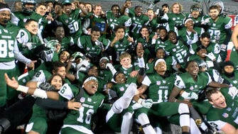 Long Branch celebrates their Divisional Championship win over Freehold Borough in a game played at High Points Soultions Field Saturday, December 4, 2017.