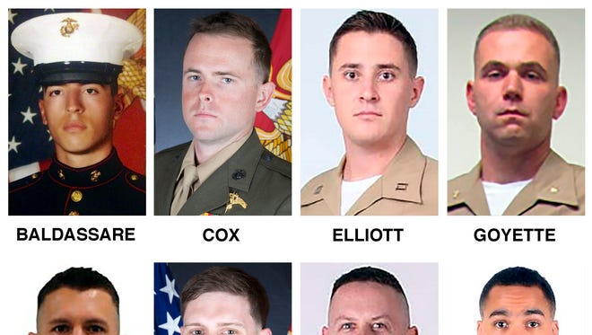 This combination of undated photos released by the U.S. Marine Corps on Friday, July 14, 2017, shows eight of the 16 the victims killed in a military plane crash earlier in the week in Mississippi. They are, top row from left, Cpl. Dan Baldassare, Staff Sgt. Robert Cox, Capt. Sean Elliott and Maj. Caine Goyette; bottom row, from left, Gunnery Sgt. Mark Hopkins, Sgt. Chad Jenson, Gunnery Sgt. Brendan Johnson, Sgt. Julian Kevianne. (U.S. Marine Corps via AP)