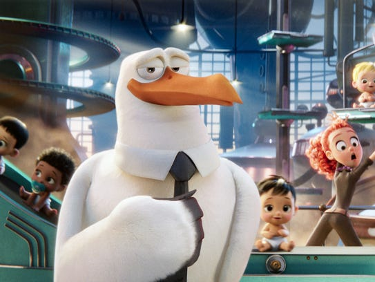 Storks carry the show, and a lot of deliveries in 'Storks,'