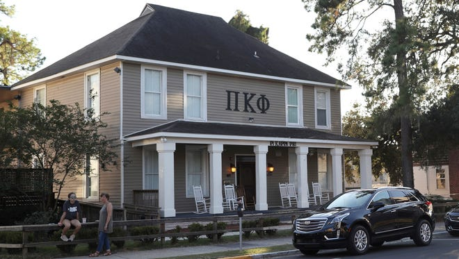 This Nov. 3, 2017, photo shows the Pi Kappa Phi fraternity house near the Florida State University campus in Tallahassee, where pledge Andrew Coffey died Nov. 3, 2017, after a party the previous night.