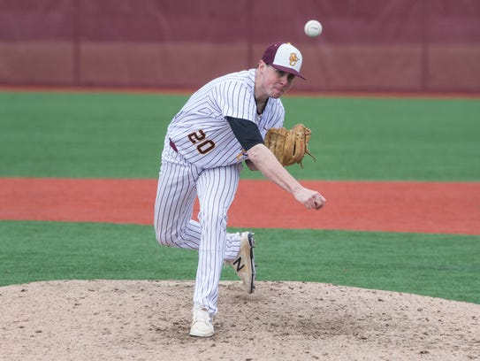Salisbury University's Connor Reeves (20) throws a