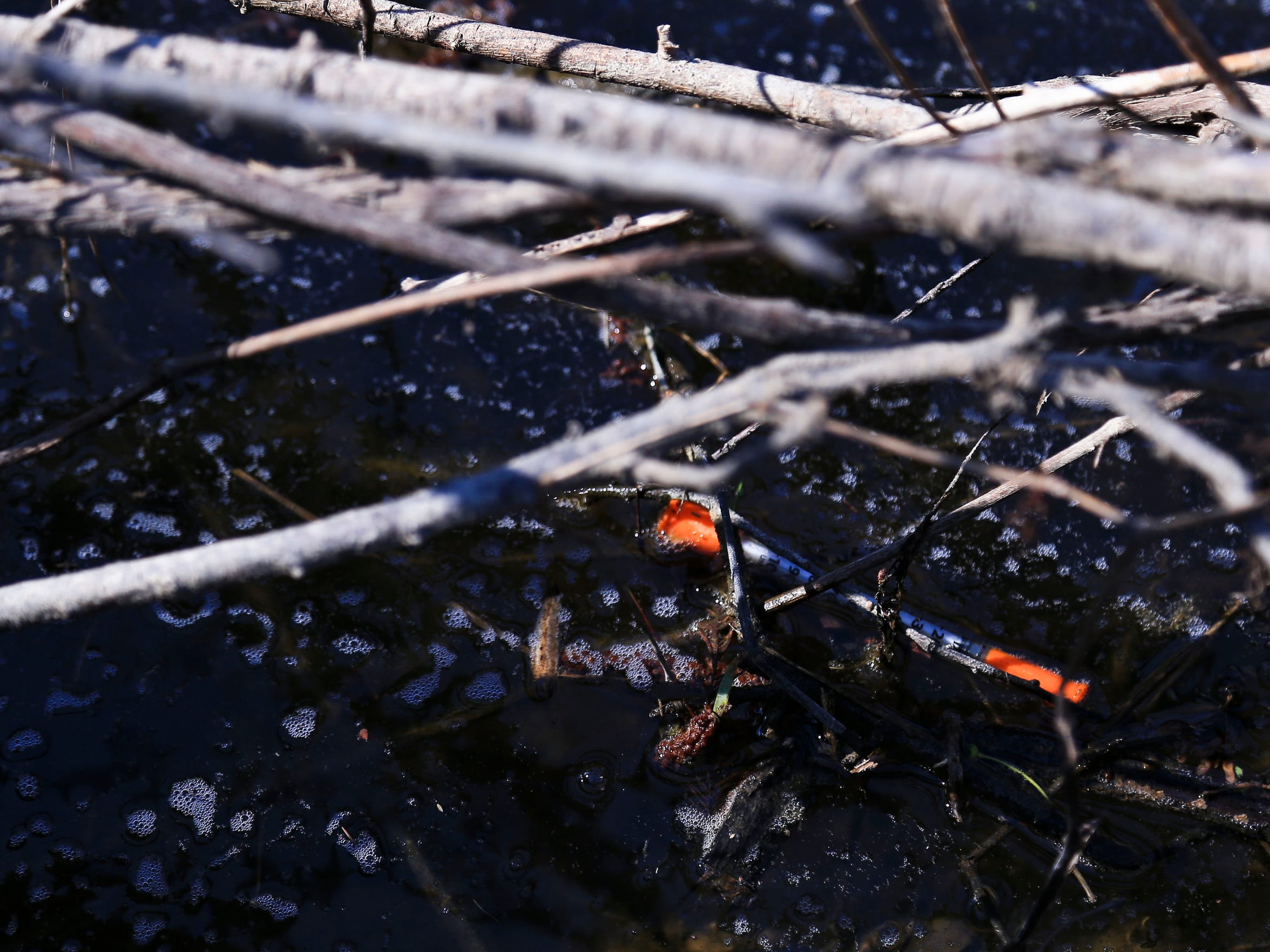 A used needle floats in a drainage ditch near Mann