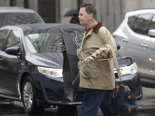 Edwin Hardeman crosses a street after leaving a federal courthouse in San Francisco in this Monday, Feb. 25, 2019, file photo. A jury in federal court in San Francisco has concluded that Roundup weed killer was a substantial factor in Hardeman's cancer.