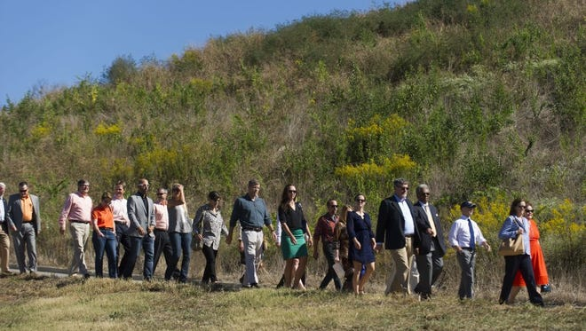 Guests arrive for the Legacy Luncheon for the Parks on Friday, Oct. 7, 2016, at UT Cherokee Farms. The luncheon is the major fundraiser for Legacy Parks Foundation, which works to preserve open space and expand parks. Patagonia Vice President Rick Ridgeway was the featured speaker.