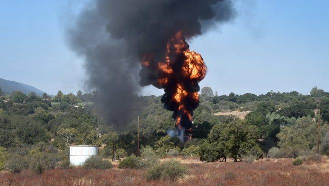 A tank caught fire in an Ojai oil field on Aug. 5, 2016.
