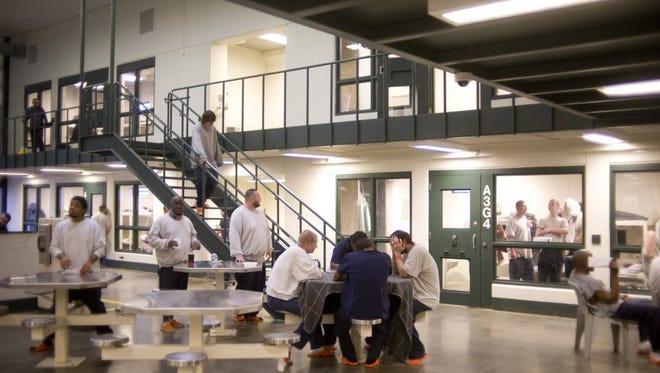 Inmates at the Vanderburgh County Jail.