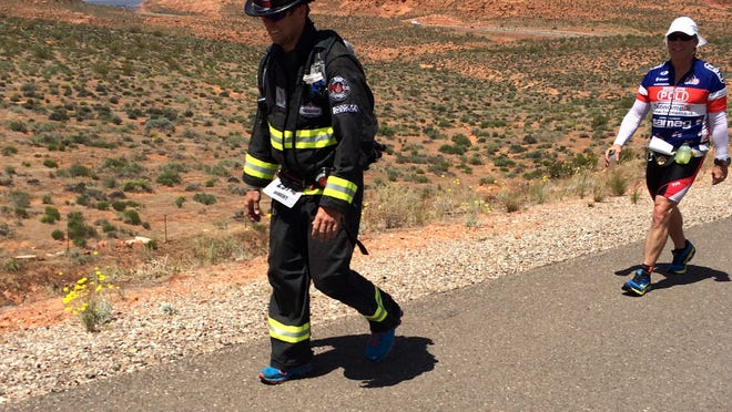 This year, Fireman Rob is striving to raise $20,000 during an especially ambitious schedule designed to break the Guinness world record for most Ironman events completed in one year. He plans to finish 23 – St. George was No. 7.