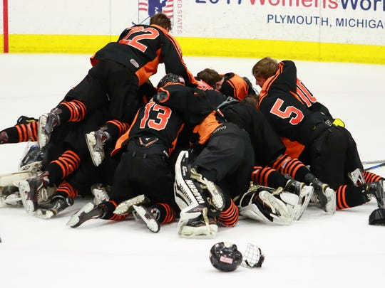 Brighton players celebrate a state Division 1 hockey