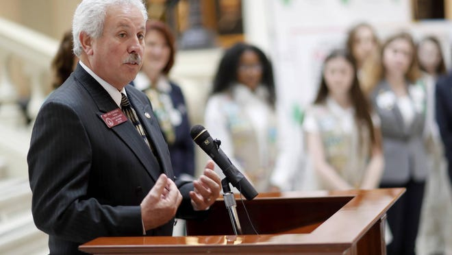 State Rep. Ron Stephens, R - Savannah, speaks during a rally at the Georgia Capitol to convince legislators to strip the name of segregationist former Gov. Eugene Talmadge from a Savannah bridge, Tuesday, Feb. 6, 2018, in Atlanta. Stephens introduced a bill to name the bridge after Juliette Gordon Low, who founded the Girl Scouts in the coastal city more than a century ago.