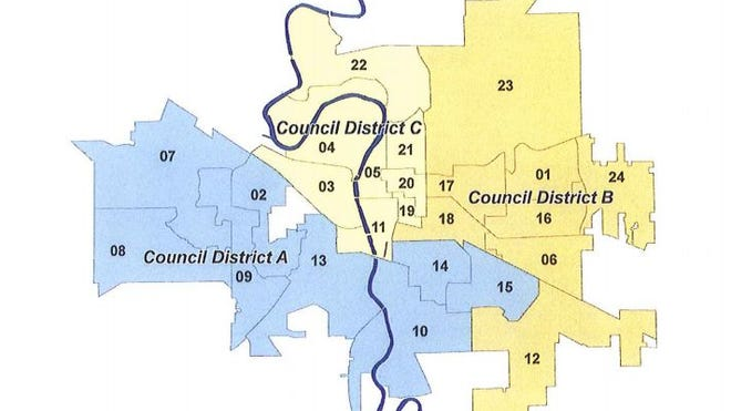 Map of Iowa City council districts.
