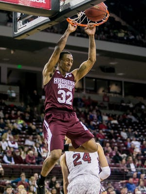 Feb 28, 2015; Columbia, SC, USA; Mississippi State Bulldogs guard Craig Sword (32) dunks against the South Carolina Gamecocks in the second half at Colonial Life Arena. Mandatory Credit: Jeff Blake-USA TODAY Sports