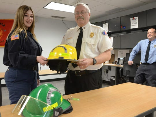 Springfield Chief Joe Teixeira said Everlee Chandler is qualified to wear a yellow firefighter helmet when she is 18.