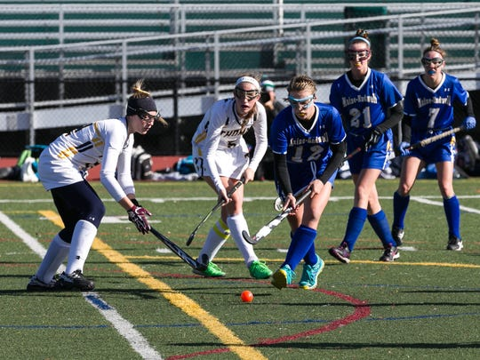 Anna Castaldo looks to control the ball for Maine-Endwell in a Class A state semifinal.