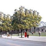 """--Text: Hargreaves & Associates planned waterfront park entry plaza improvements - rendering of """"after""""--Caption: ILLUSTRATION COURTESY OF HARGREAVES & ASSOCIATESSome of the concrete at the entry to Waterfront Park near Witherspoon Street and Bingham Way will be replaced with turf and ash trees."""