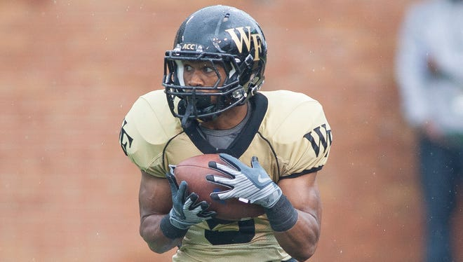 Orville Reynolds (5), a converted wide receiver, is one of the only veteran options Wake Forest has at the running back position.