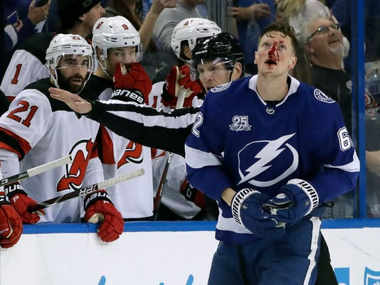 1a203d3cc Devils  Miles Wood hurts two Lightning players in same shift