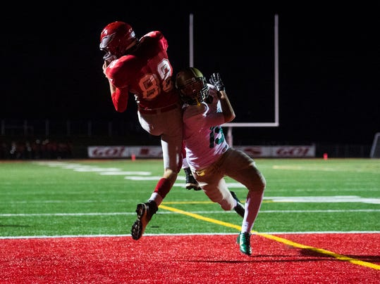 Bermudian Springs' Quinton Nace caught a touchdown with 15 seconds remaining as the Eagles topped York Catholic 20-17. (Shane Dunlap - GameTimePA.com)