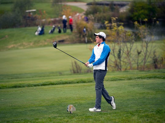 Gus Minkin, of Central, admires his tee shot during the 2015 PIAA golf championship at Heritage Hills Golf Resort on Oct. 27. (Paul Kuehnel - GameTimePA.com)