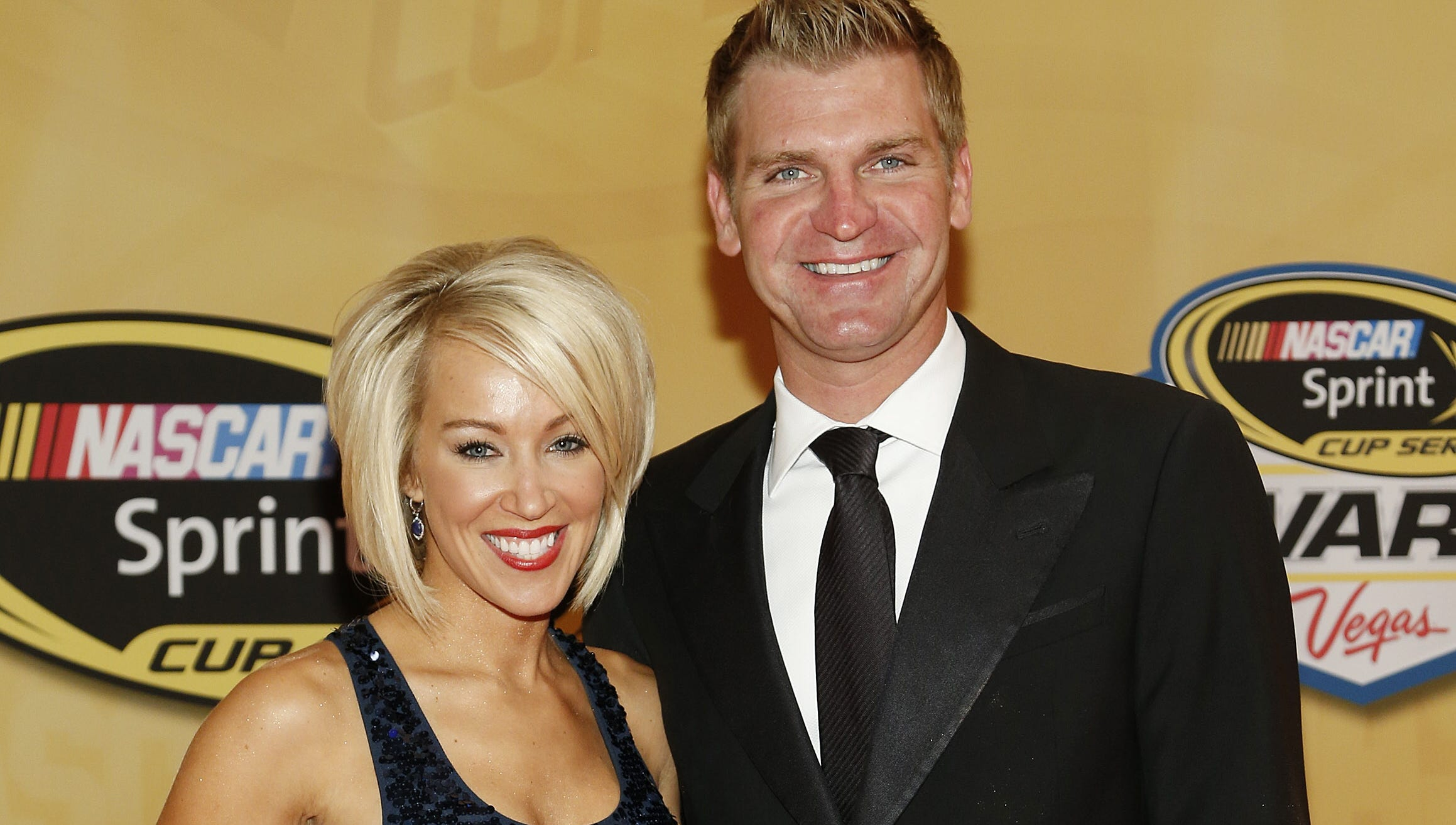 Clint Bowyer with cheerful, Wife Lorra Bowyer