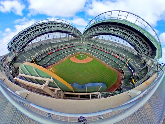 An image, captured with a panoramic camera, shows the Miller Park field and roof.